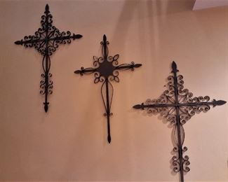 Set of 3 wrought iron crosses