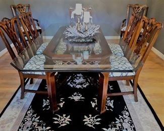 Absolutely gorgeous glass top Chippendale dining table with Chippendale chairs (picture does not do it justice)