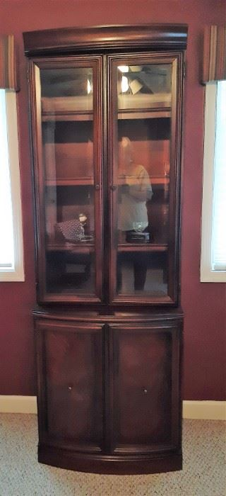 Beautiful Walnut display cabinet or bookcase with two glass doors on top and two cabinet doors beneath
