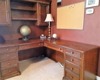Executive desk with return, hutch and gunsafe
