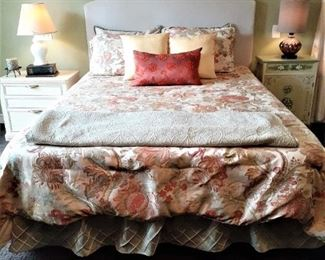 Another view of the QS bed with fabric headboard and comforter set