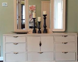 Matching triple dresser with mirror