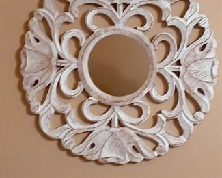 Large white decorative wood medallion with mirror