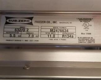 Sub-Zero 632 manufactured March 2006