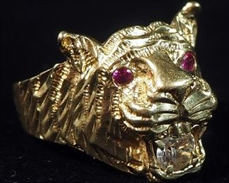 14k Gold Ring With Clear And Red Stones In Tiger Head Setting, Size 9-1/4, 6g Weight Includes Stones