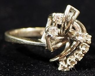14k White Gold Diamond Ring, Size 5, 3.66g Including Stones