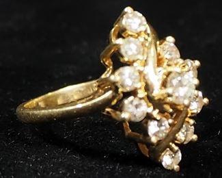 14K Gold Diamond Ring, Size 6-1/2, 4.58g Including Stones