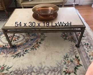 Travertine table  marble and iron, contemporary Italianate styles  $495.