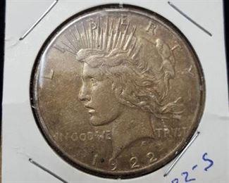 1922 s peace dollar, silver