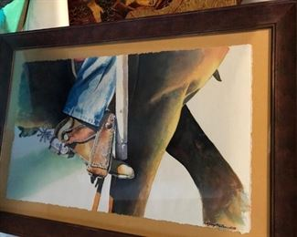 "Original watercolor by Greg Miles of a Vaquero in San Miguel, Mexico in a custom 28""x20"" frame. $475"