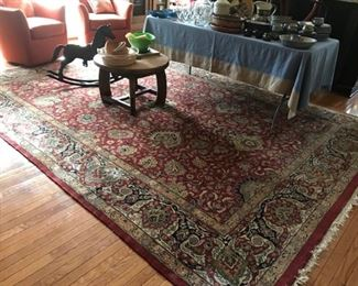 "100% wool rug with a thick pile. Beautiful deep maroons and blues, 12'6""x 9', excellent condition. $2,500 obo"