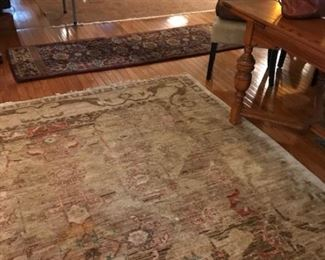 "Closest rug in picture is 9'6""x 8'3"" (Eastern Gate-$900), Runner in the middle is  wool 7'4""x 2'4"" ($50), rug in distance is 8'6""x11'6"" (Ancestry-$1,200). All are  wool."