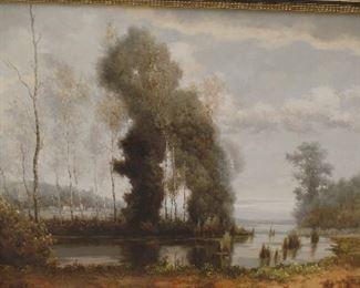 "60"" x 48""  original oil painting British artist  J. Kelly  ""Summer Mist""  $1,800"