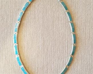 Turquoise and Sterling Silver Navajo Necklace https://ctbids.com/#!/description/share/366725