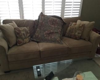 """light brown fabric couch 84""""w with cushions $145"""