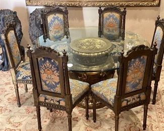 French glass dining table and 5 chairs
