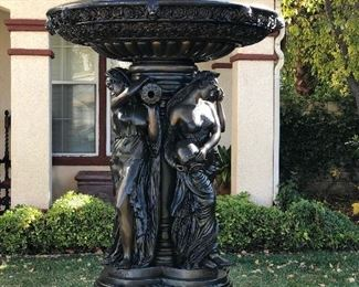 Bronze ladies fountain with lions