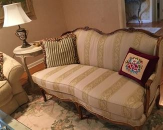"""Hickory White Carved Sofa $495.00 Measures 64""""L x 22""""D Seat Cushion..."""