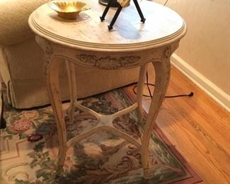 Round Carved Wood Accent Table $245.00
