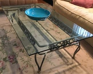 """Beveled Glass Metal Coffee Accent Table...Measures 27""""W x 51 1/2"""" L...$350.00"""