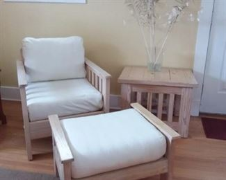 Chair Ottoman and Side Table Set