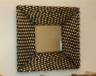 """Gold Ruffle Square Mirror - Measures 39"""" x 39"""" x 4"""" D"""