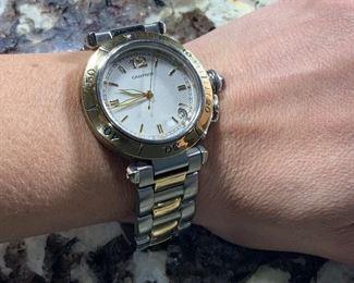 Genuine Cartier # 1034 Pasha Two Tone Gold Wrist Watch... Automatic Swiss Movement.