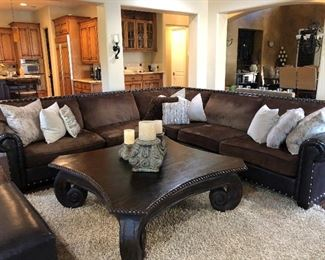 "Pottery World sectional, 11' each direction, 3 pieces, Pottery World coffee table, 56"" square"