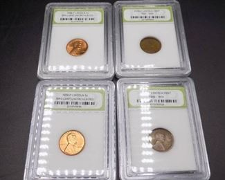 Graded Lincoln Wheat Pennies