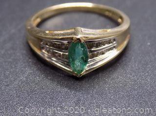 Emerald and Diamond 10K Ring