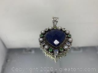 Sapphire, Pearl and Topaz Pendant