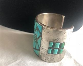 Vintage high end sterling silver & Turquoise cuff bracelet. This item is out on review with a customer