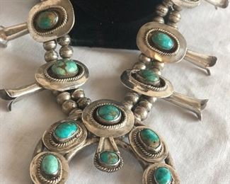 Vintage high end sterling silver & Turquoise Squash Blossom Southwestern Necklace. This item is out on review with a customer