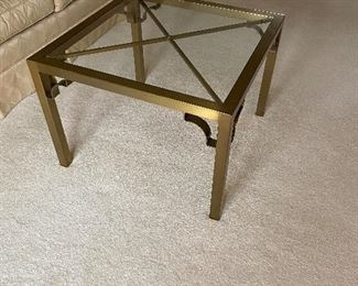 Brass and glass coffee table   $125