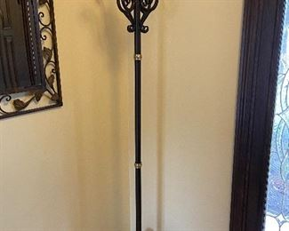 Iron Coat Hanger/Butler with brass top finial   $150
