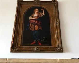 Italian Large Painting Woman playing the Triangle $350