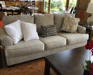 Sofa $1000 Grey linen Down, pillows down $50 regular $20