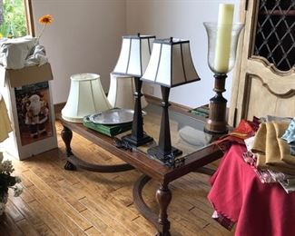 Coffee Table $150, Lamps $30