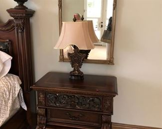 Bedside Table $150, Mirror $100, Lamp $50 - there are 2 of each