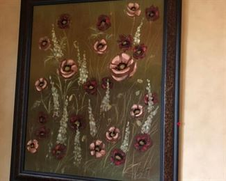 Large Pink Floral original Art $350