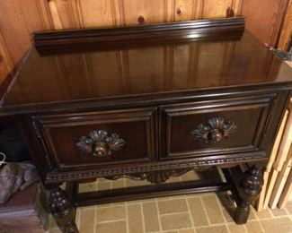 "Mahogany hutch; 40"" x 20""; front two doors open for storage; sturdy and in very good condition; $450"