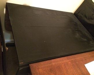 "Antique black drop leaf table; 27"" x 28""; very old with some corner scratches; $195."