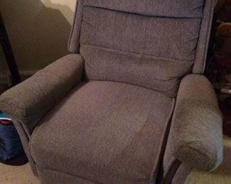 Slate blue recliner; very comfy with padded head rest; $125.