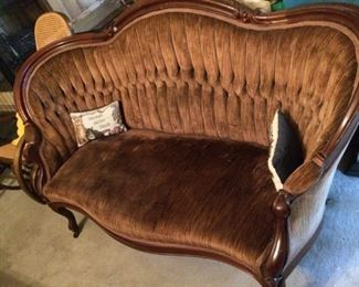 "Antique velvet sofa; small crack in the back;  67"" long; very old but was rarely used; $300."