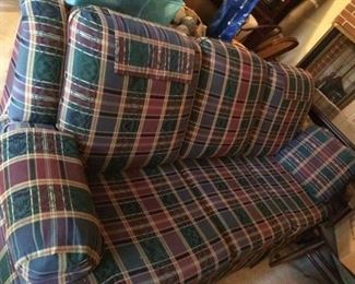 "Standard size couch with recliners on both ends in great condition; 86"" long; $200."