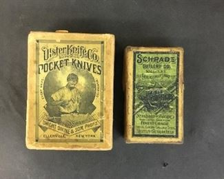 2 Antique Pocket Knife Boxes Ulster Knife Co and Schrade