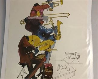 """https://www.ebay.com/itm/124124657724 LAN0808: Leo Meiersdorff Jazz Print 10""""X12.5"""" Local Pickup $25 4 Piece Band"""