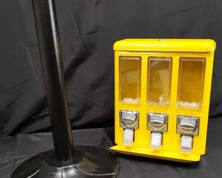 Candy Machine, holds three different kinds of Candy. Needs minor repair to the hinge for lid.  Photographed.  No Key