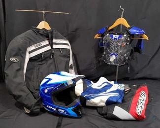 Child size small BMX Gear Two pairs of pants, Fieldsheer riding jacket Helmet and more.