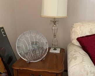 French provincial end tables and coffee table. Glass lamp. Lots of great decorating items